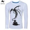 Masculino Encabeça 2017 Manga Longa T Camisa O Pescoço T-Shirt Dos Homens Camisetas dragão 3D Impressão Camiseta Homme Hombre Camisas Engraçadas de T XXL