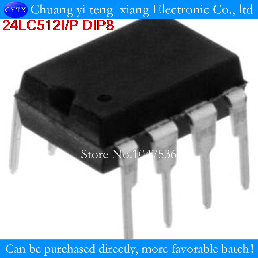 2PCS/LOT 24LC512I/P 24LC512 512K I2C Serial EEPROM