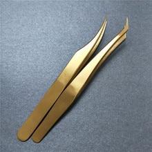 2 Pieces Professional Stainless Steel Eyelash Tweezer Volume Eyelash Extension Lash Tweezer Clip Tools False Eyelash Tool недорого