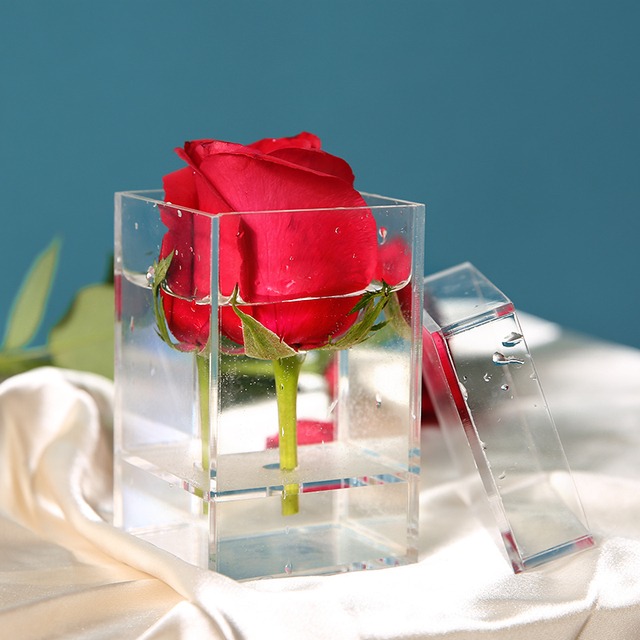 Прозрачная акриловая коробка с розами органайзер для макияжа