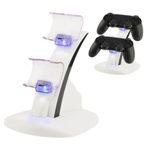 LED Micro USB Dual Dock Charging Charger Stand White For Playstation 4 For PS 4 Slim Controller with USB Cable цена и фото