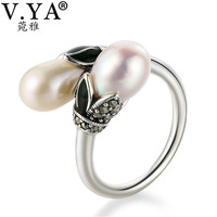 V YA Freshwater Pearls Rings Real 925 Sterling Silver Vintage Natural Peal Finger Ring For Women