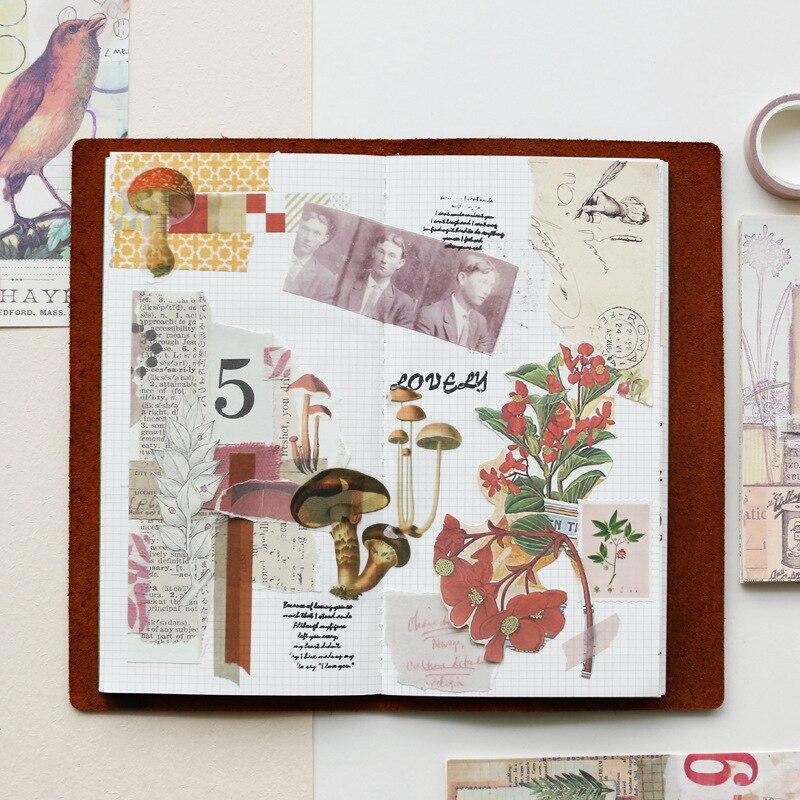 Купить с кэшбэком 18Pcs/pack Vintage Handmade Material Background Sticker Scrapbooking Creative DIY Diary Decorative Flake Diary Journal Supplies