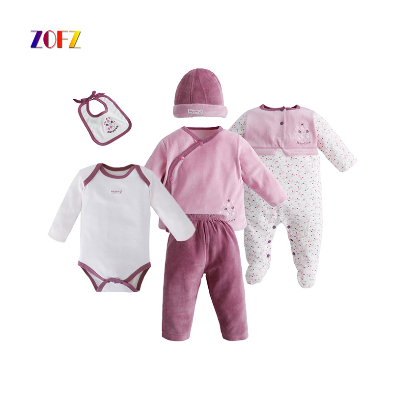 ZOFZ Fashion Baby Girl Clothes Cotton 6pcs/Set O-Neck Regular Print and Solid Baby Clothing for bebes 2018 Casual Cute Kids Sets