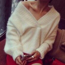Женские зимние теплые пуловеры мохера V шеи мягкий мех кролика вязаный Летучая мышь с длинным рукавом Однотонные Свободные мешковатые новые
