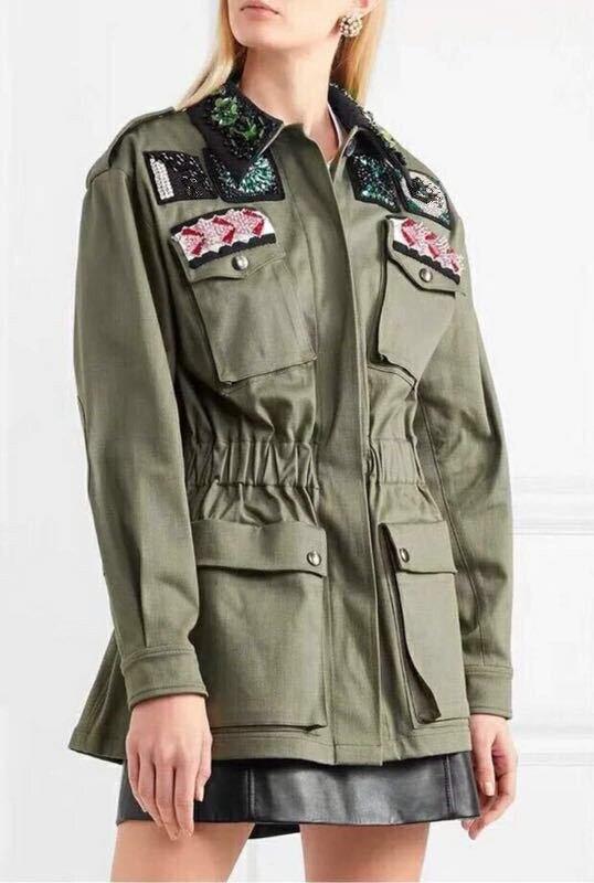 Printemps Taille Perles Automne Chic Diamants Vestes Manteau Green G057 Femmes Army Élastique De wkO0Pn