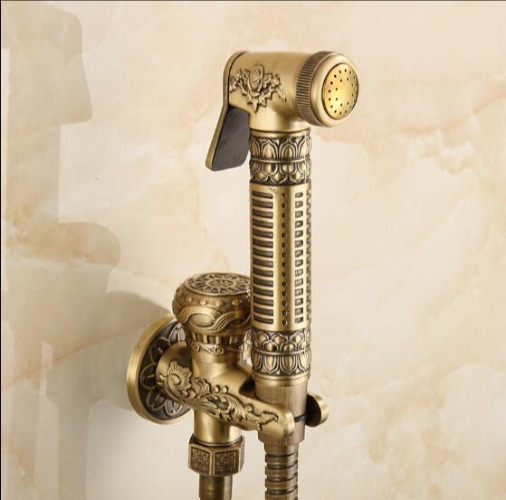 Antique Bronze Hand held Bidé Spray Chuveiro Definir Cobre Pulverizador Bidé Sanita Bidé Lanos Torneira de Lavatório Torneira Arma, montado Na parede Torneira