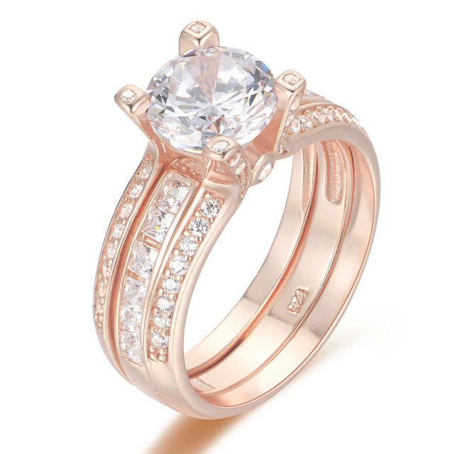 Newshe Rose Gold Color Solid 925 Sterling Silver Wedding Ring Set