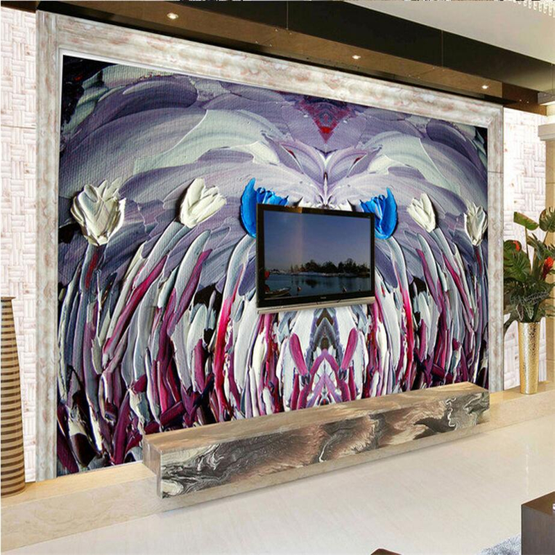 Custom 3d Mural Painting Oil Lily Flower Wall Murals Environment Friendly Embossed Non-Woven Bedroom Study TV Background Kitchen миска lily flower g2286 h4266