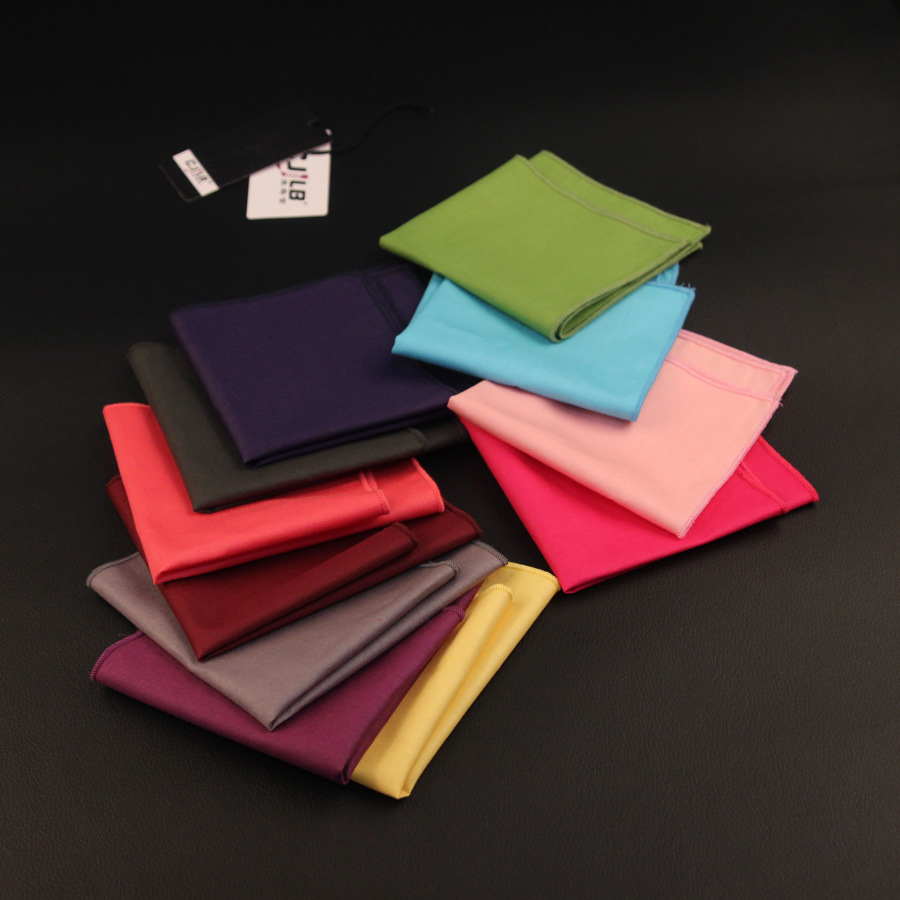 New Korean Fashion Designer High Quality  Mens Pocket Squares Handkerchiefs Casual Cotton Solid 23x23cm 10pcs/lot