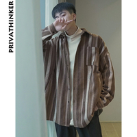 Privathinker Striped Shirt Woolen Men 2018 Designer Mens Retro Long Sleeve Shirts Male Fall Japanese Oversized Fashions Shirts