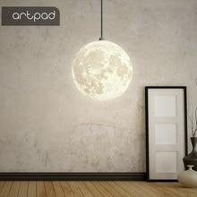 Artpad Nordic 3d Printing Moon Pendant Light Ball Modern Simple Living Room Droplight Bedroom Dining Hall Home Lighting
