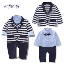 Boys Newborns clothing Body suit Cotton Baby Boy SetsInfant Critical Gentleman Bow Long Sleeve Weddings Birthday party Clothes стоимость