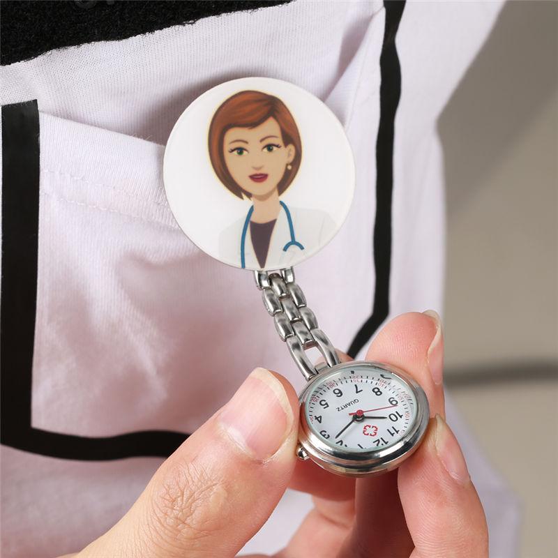 Купить с кэшбэком Unique 3D Cartoon Nurse Watch FOB Ladies Women Nurse Lovely Animal Doctor Pocket Watches Clip reloj bolsillo