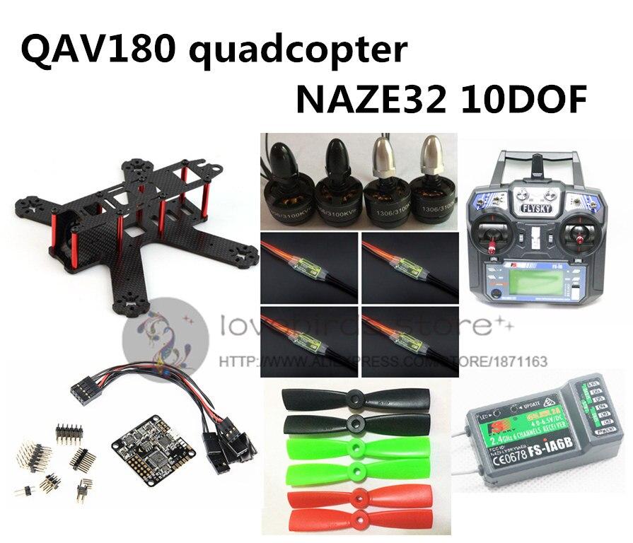 DIY FPV QAV180 RC кросс гонки quadcopter мини беспилотный комплект и RTF NAZE32 10DOF + 1306 3100KV + BL 6A ESC + FLYSKY FS i6 + iA6B