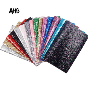 AHB Chunky Glitter Fabric Shiny Laser Sequins Patchwork For DIY Bag Shoes Making Bow Material Handmade Leatherette Fabric(China)