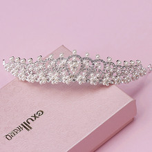 shiny elegant full crystal beads pearl decorated bridal tiaras hair accessories wedding crown bride hair accessories