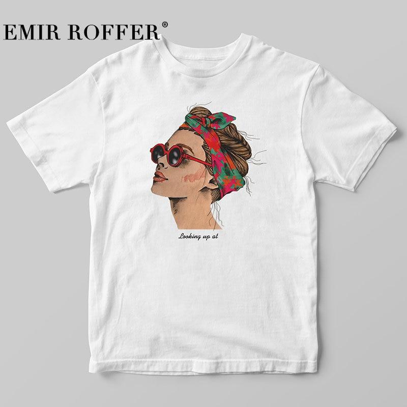 EMIR ROFFER 2018 Fashion Cool Print Female T-shirt White Cotton Women Tshirts Summer Casual Harajuku T Shirt Femme Top