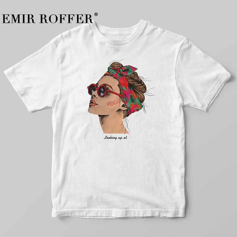 EMIR ROFFER 2018 Mode Coole Druck Weibliche T-shirt Weiß Baumwolle Frauen T-shirts Sommer Casual Harajuku T Hemd Femme Top