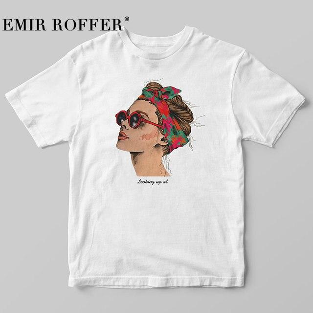 EMIR ROFFER 2019 Thời Trang Mát Mẻ In Nữ T-Shirt Trắng Bông Phụ Nữ Áo Phông Mùa Hè Giản Dị Harajuku T Áo Sơ Mi Femme Top