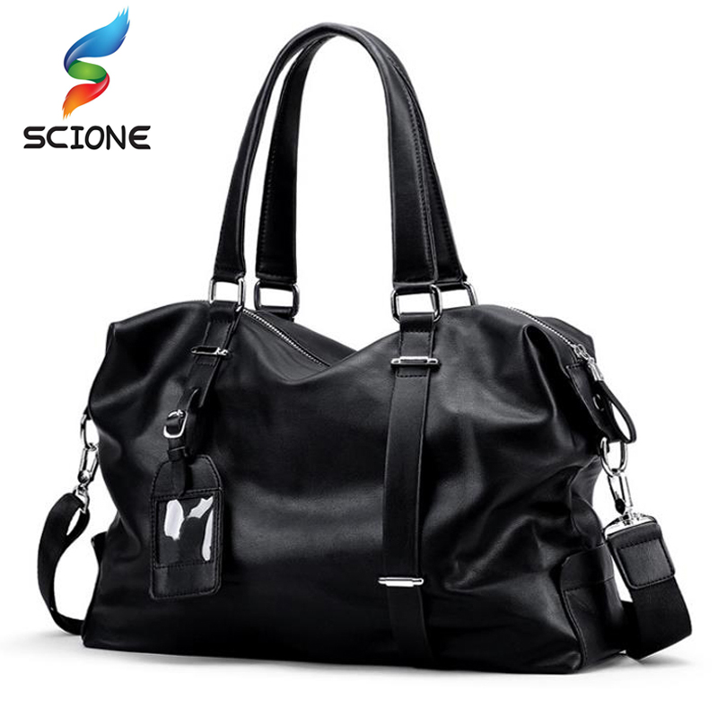 Hot PU Men Travel Handbag Sports Gym Bag Trip Training Bag Large Luggage Duffle Shoulder Message Bag Outdoor Fitness Bag