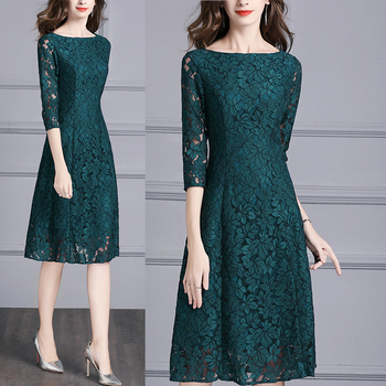 Vestido de encaje verde elegante para señora de oficina, primavera otoño 2019, vestido largo ajustado de manga 3/4 4xl 3xl para mujer