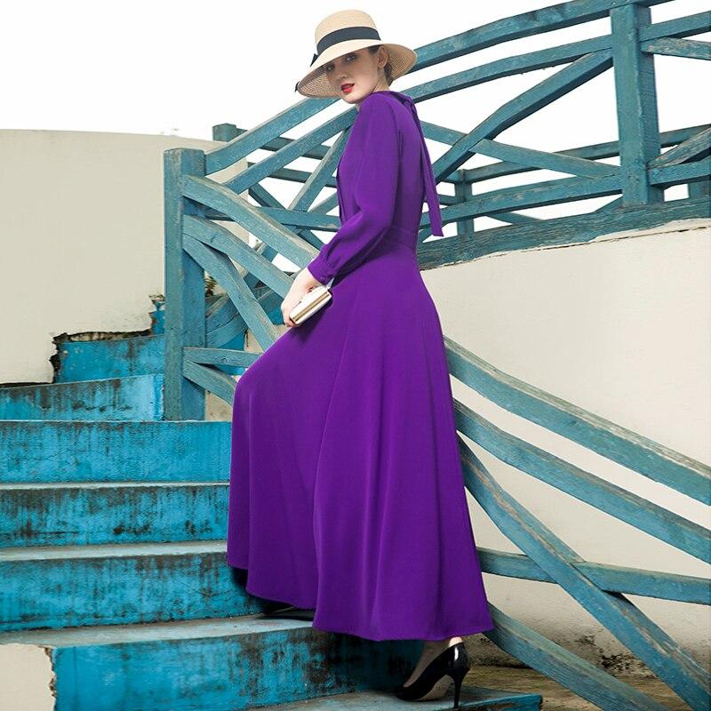 Femmes Parti Pourpre Longue Nouvelle De Arc Élégant Mode 2019 Marque Stand Retour Maxi Robe Robes Soirée Printemps Col gPqwg8
