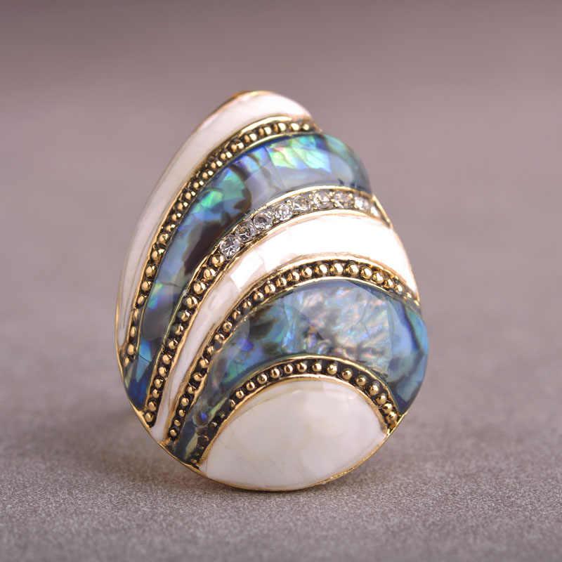Esmalte esmalte abalone concha anéis cor do ouro cristal dedo anel bague aneis grande oval em forma de concha do mar anéis para casamento