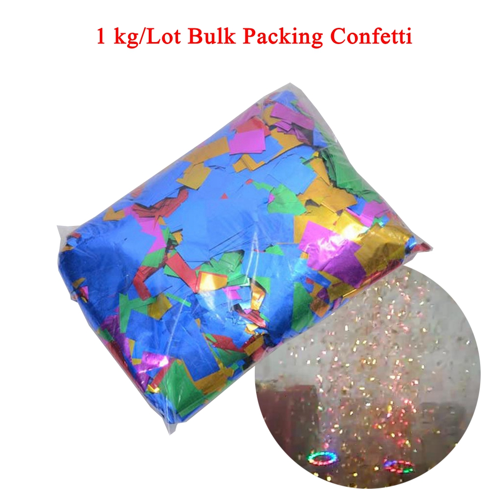 Professional Confetti Machine Effect 1kg/lot Bulk Packing Gold Silver PET Confetti For Disco DJ Party Wedding Stage Decorative