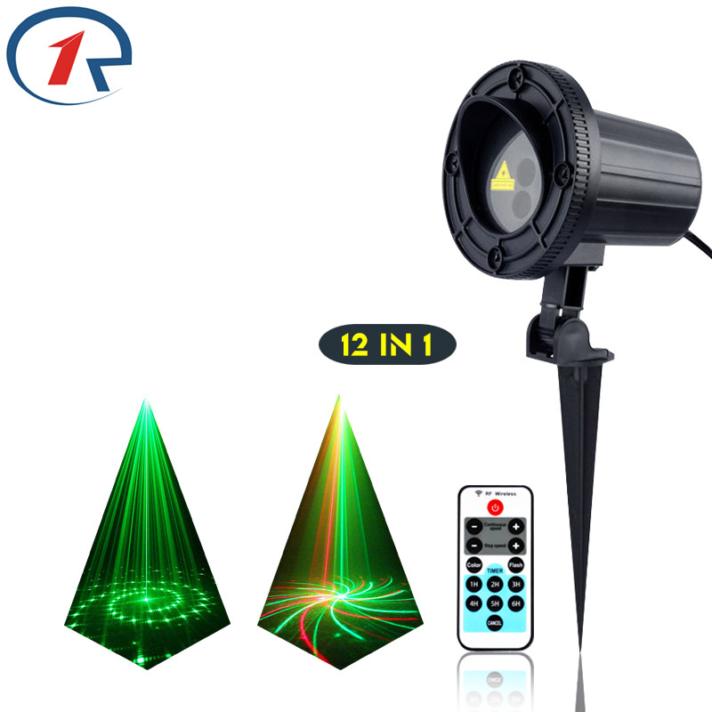 ZjRight IR Remote 12 patterns Red Green laser lights waterproof outdoor projection laser effect stage light dj light disco light rg mini 3 lens 24 patterns led laser projector stage lighting effect 3w blue for dj disco party club laser