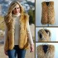 Mujeres de invierno corto chaleco sin mangas de piel falsa capa chaleco chaqueta Outwear S-XXXL