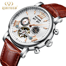 KINYUED Flying Tourbillon Watch Men Leather Waterpoof Perpetual Calendar Mechanical Mens Watches Automatic Skeleton reloj hombre цена и фото