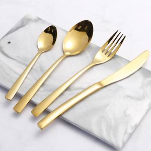 Image 3 - 24PCS Tableware Gold Cutlery Set Cutlery Dinner Set Dishes Knives Forks Spoons Western Kitchen Dinnerware Stainless Steel Home