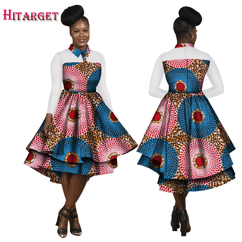 Hitarget 2019 Autumn Bazin African Dresses for Women Dashiki African Wax Print Long Sleeve Dresses Traditional Clothing WY1787 in Africa Clothing from Novelty Special Use