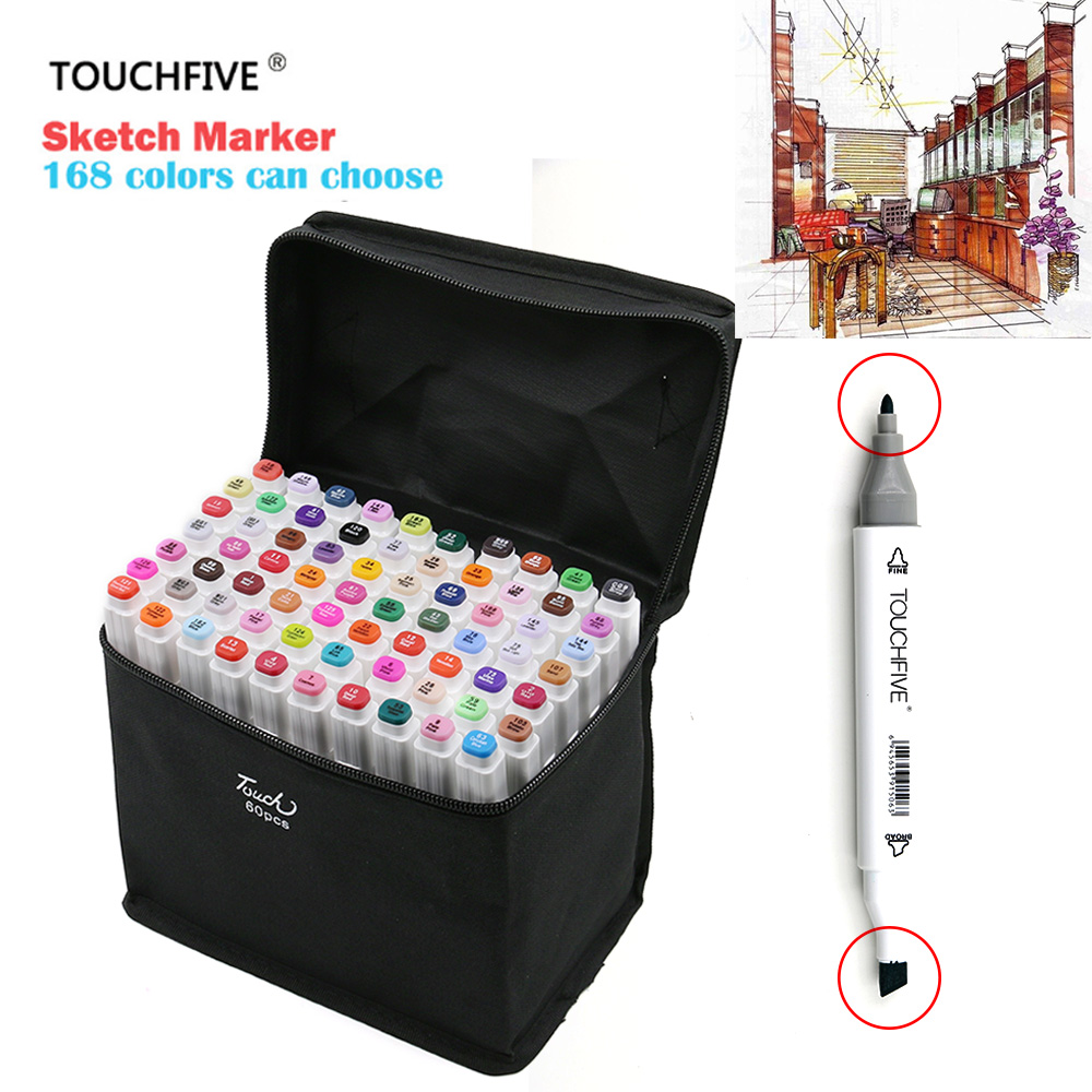 TouchFIVE 80 Color Dual Headed Sketch Markers Pen Oily Alcoholic Painting Manga Art Marker Set Stationery Pen For School Drawing