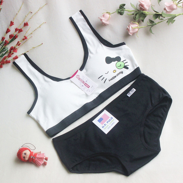 Young Girls Students Underwear Sets Candy Color Training Bras For Teenagers Cotton Sport Underwear Set Girls Puberty Bra Set