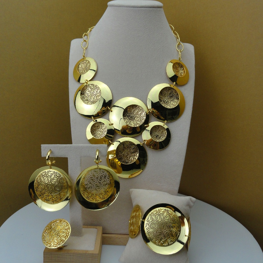 Yuminglai African Fashion Jewelry Dubai Gold Jewelry Sets for Women Big Jewelry Sets FHK5905