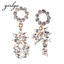 Girlgo Cute Color Pendant Statement Earrings for Women Fashion Long Luxury Drop Dangle Earrings Big Charm Bijoux Wedding Jewelry