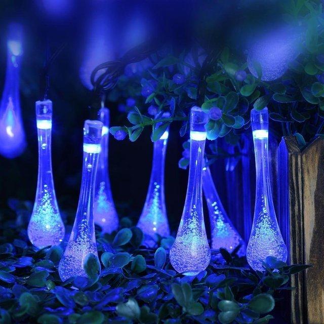 Solar Powered 20 LED Water Drop Ledertek String Lights LED Fairy Light for Wedding Christmas Party Festival Outdoor Decoration
