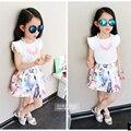 Princesa de la manera de la Marca Traje de falda Estilo de Lolita Del Verano Del O-cuello de la falda ropa de las muchachas de la princesa niños ocasional ropa falda caliente