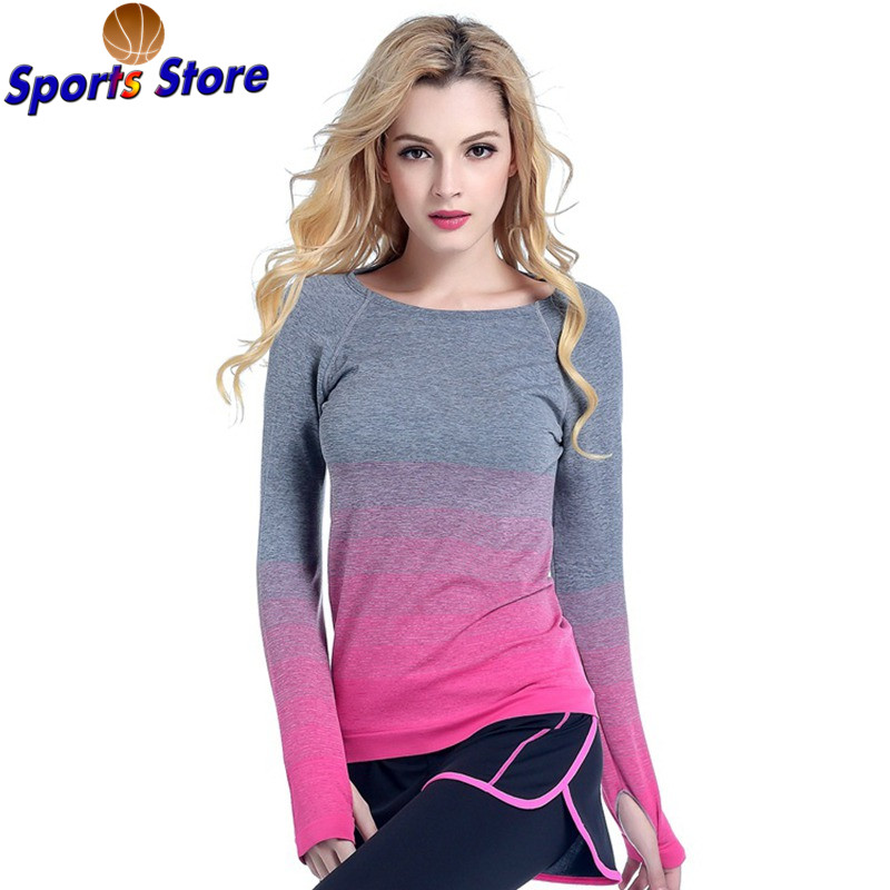 Women Professional Yoga Sport Gradient Color T Shirt Long Sleeves Hygroscopic QuickDry Fitness Elastic T-shirt Women Top Shirts red lace details basic long sleeves t shirt