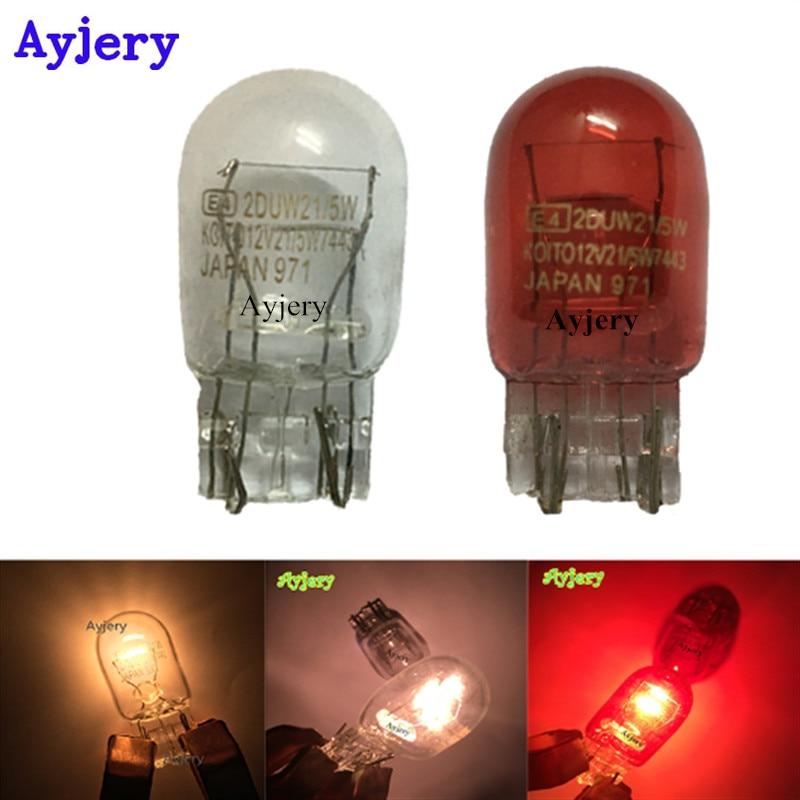 AYJERY !! 2Pcs 7443 W215W White Glass T20 Lamp 12V 215W Car Indicator Lights Bulb W16*3q Double Turn Light Auto Lamp Bulbs