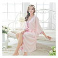 Dressing Gowns For Women Embroidery Lace Long Nightdress Ice Silk Robe Sexy Women Breathable And Comfortable Sleep Home Clothes