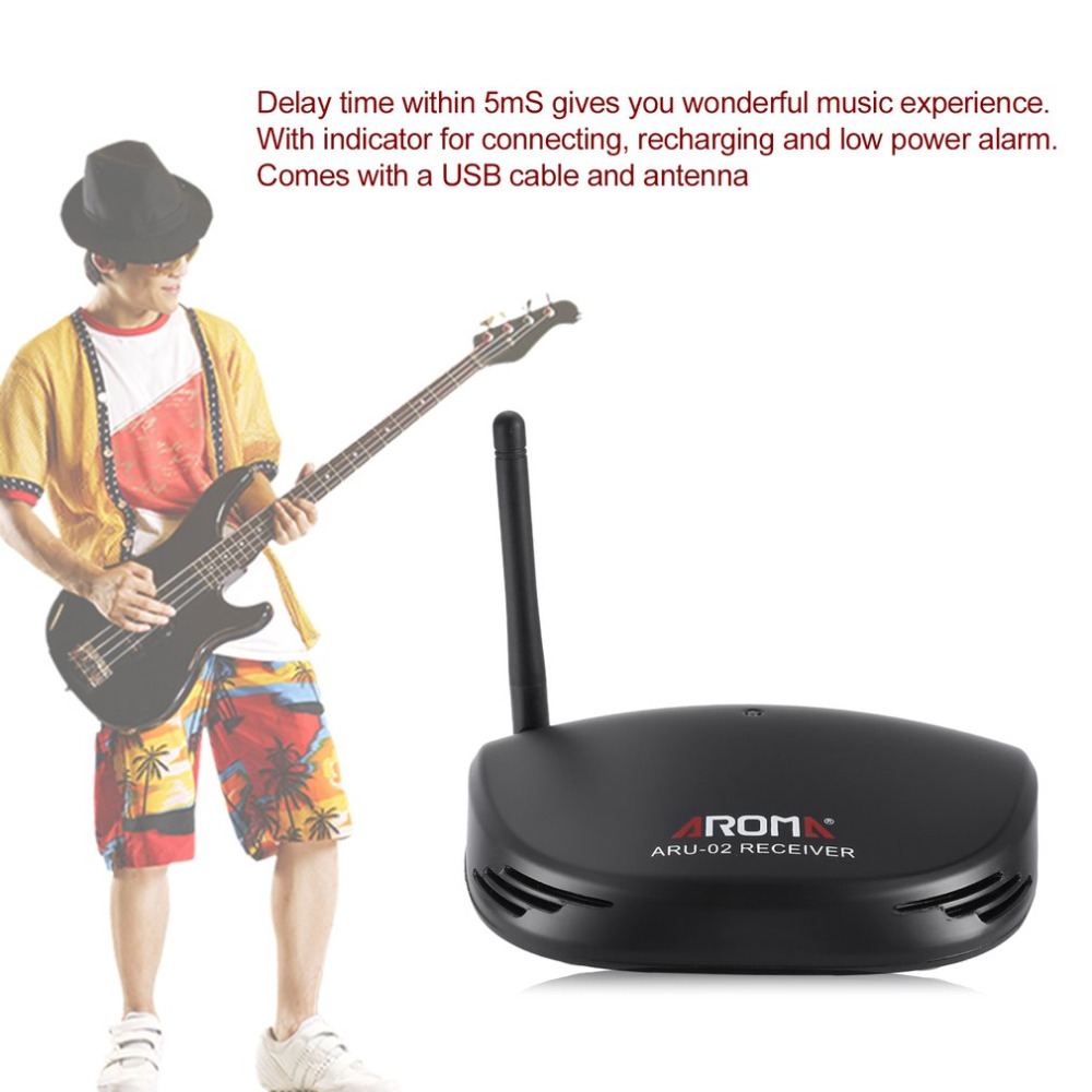 Aroma UHF Wireless Guitar Digital Audio Transmitter Receiver System USB Rechargeable Accessories for Guitar Ukulele цена