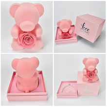 цена на Preserved Rose Teddy Bear with Gift Box Rose Flower in Heart For Valentines Day Gift For Girlfriend