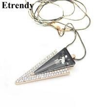 Стразы треугольные Длинные ожерелья и подвески для женщин 2019
