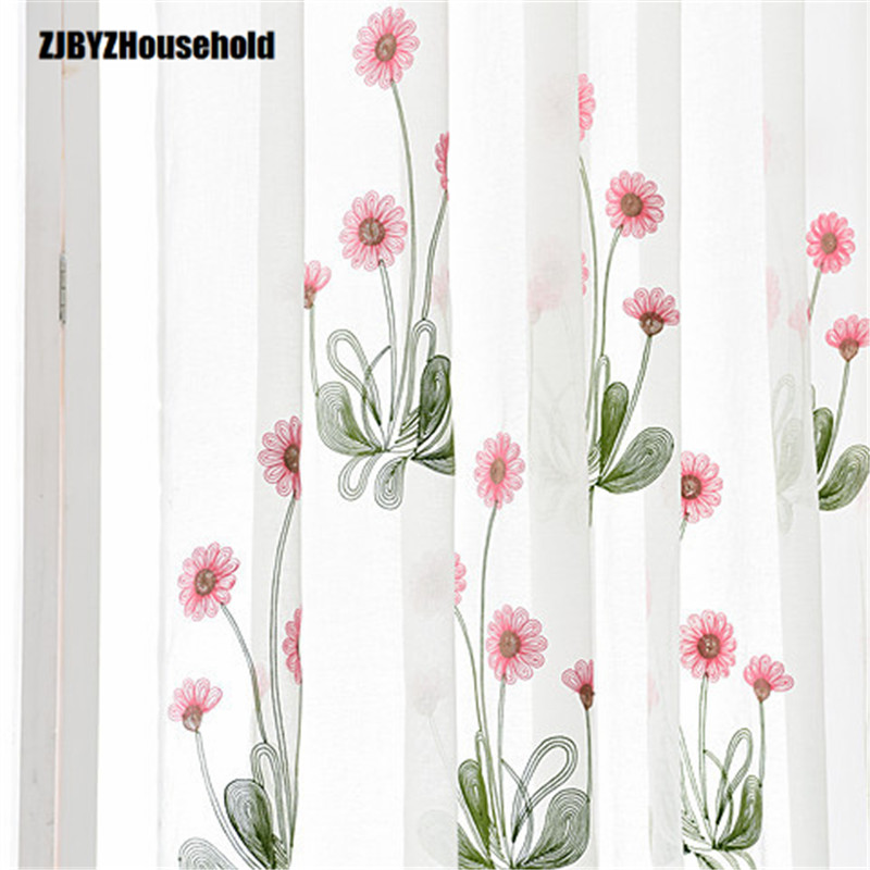 Cartoon Trees Curtains For Bedroom Cotton Linen Towel: Red Sun Cartoon Sunflower Flower Embroidery Cotton