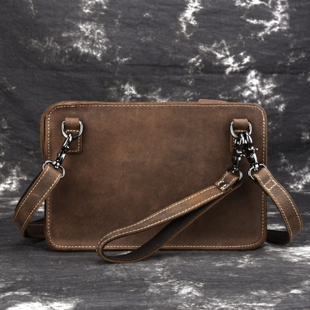 Men's Crazy Horse Genuine Leather Messenger Shoulder Pack Documents Portable Clutch Bag Portable Wrist Bag Wallet Handbags new men s crazy horse genuine leather messenger shoulder pack documents business portable clutch bag portable wrist bag