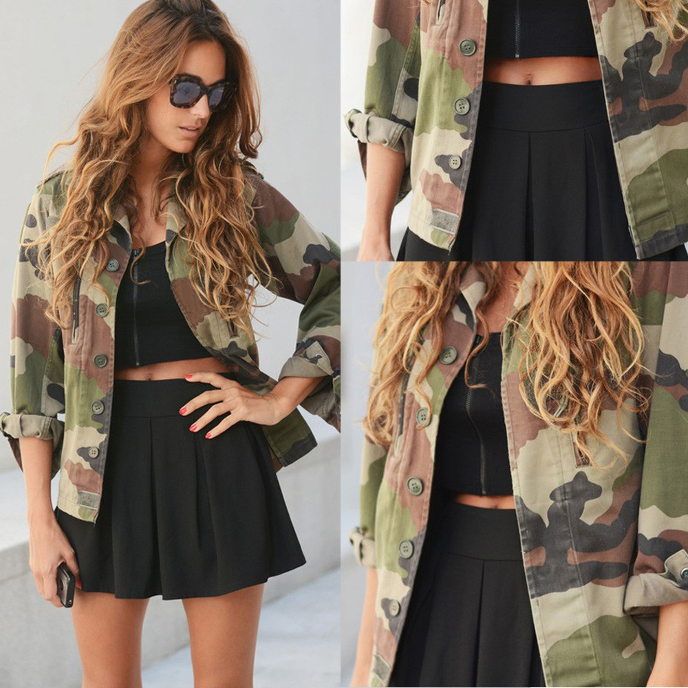 f662828b8c2 Feitong Cool Style Women Camouflage Print Jacket Coat Autumn Winter ...