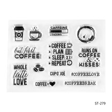 Coffee time Transparent Clear Silicone Stamp/seal for DIY Scrapbooking/photo Album Decorative Clear Stamp Sheets.